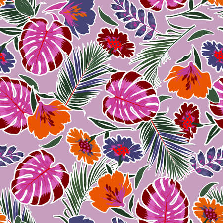 Colorful and bright summer hand drawn seamless pattern with leaves flowers ,tropical monstera , foliage , Background with florals vector on modern style on lilac color