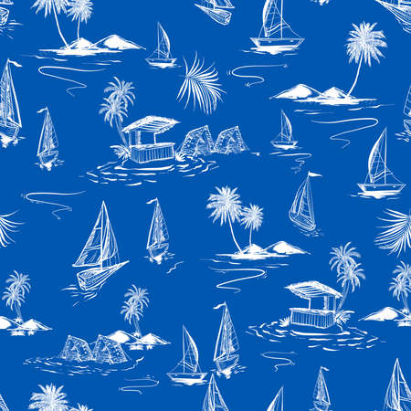 Beautiful seamless white hand sketch island pattern on ocean blue background. Landscape with palm trees, beach and ocean vector