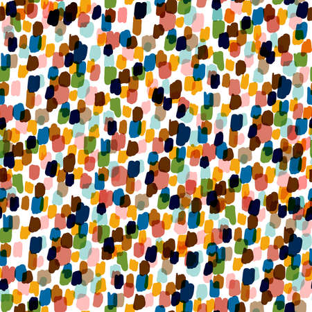 Multicolored of polka dots from hand paint seamless pattern artistic mood 向量圖像