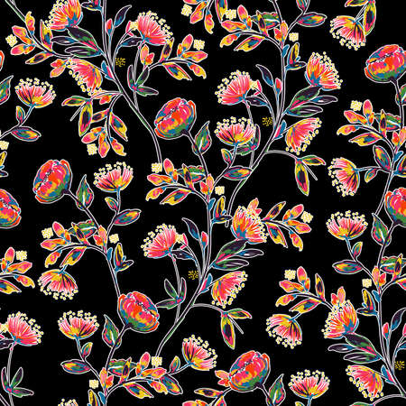 Colorful High contrast hand drawn and painted meadow floral seamless pattern vector,Design for fashion , fabric, textile, wallpaper, cover, web , wrapping and all prints on Black