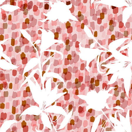 Modern White Silhouette lily floral and Botanical plants and foliage on hand painted brushed monotone sweet pink polka dos background design for all prints 向量圖像