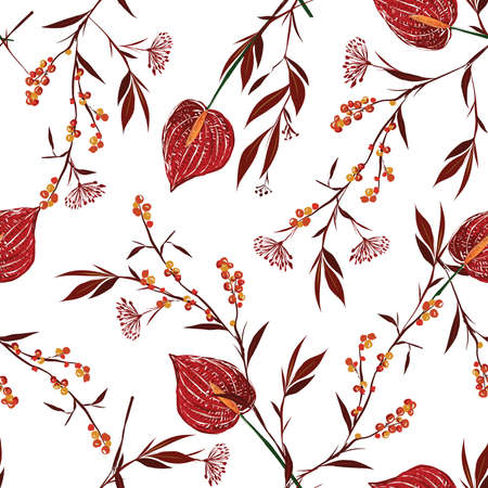 Spring Botanical floral ,Meadow flower,Anthurium delicate mood seamless pattern