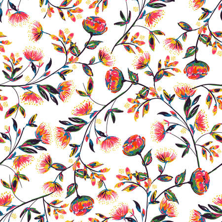 Retro Colorful hand drawn and painted meadow floral seamless pattern