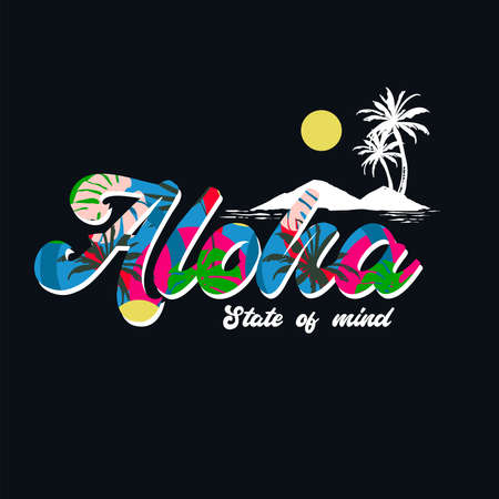 ALOHA Hawaii, Colorful beach vector illustration for t-shirt ,Design for fashion , fabric, textile, wallpaper, cover, web , wrapping and all graphic types on black 向量圖像