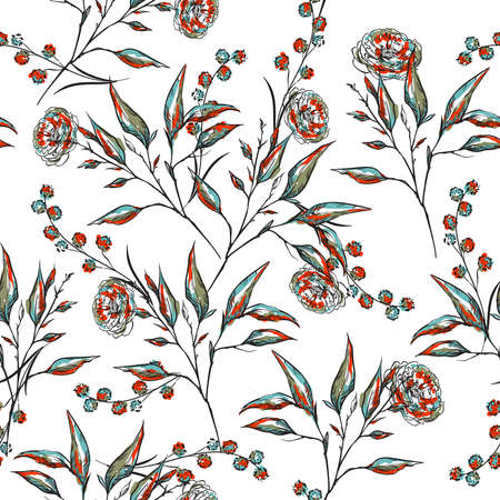 Stylish Hand drawn line sketch Botanical floral and flwers seamless pattern vector ,Design for fashion , fabric, textile, wallpaper, cover, web , wrapping and all prints on white