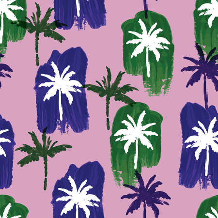 Beautiful paint brushed palm tree with artistic hand drawn navy blue and green seamless pattern vector, Design for fashion , fabric, textile, wallpaper, cover, web , wrapping and all prints on light purple