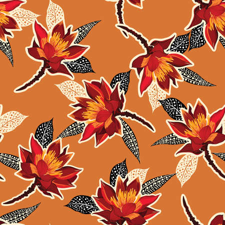 Retro Red Blooming Flower ,Floral with hand drawn style on foliage and leaves seamless pattern