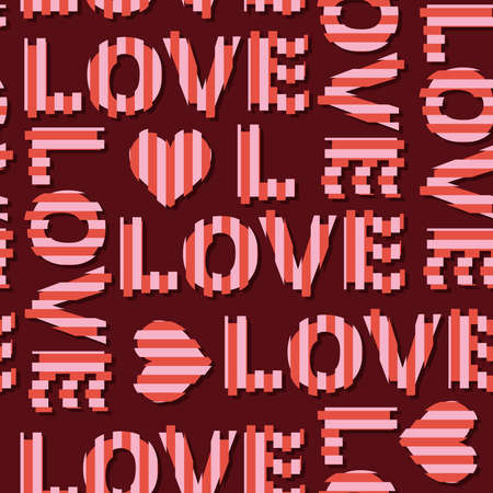 """Seamless pattern with words """"Love""""  and"""