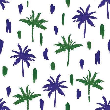 Minimal paint brushed palm tree with artistic hand drawn navy blue and green seamless pattern