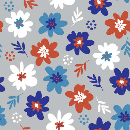 Cute Hand drawn Flower small scale of floral seamless pattern