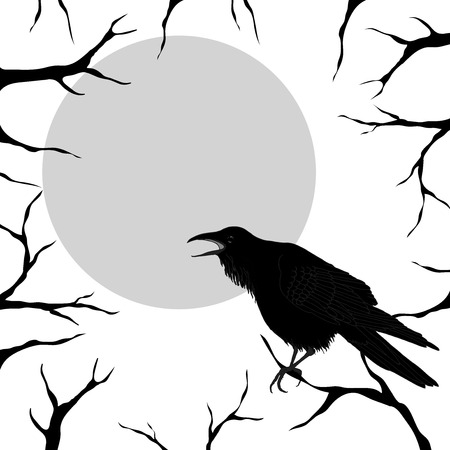 raven: Stylish black and white template for Halloween greeting card with raven, full moon and a place for your text. Great for cards, party invitations, holiday design.