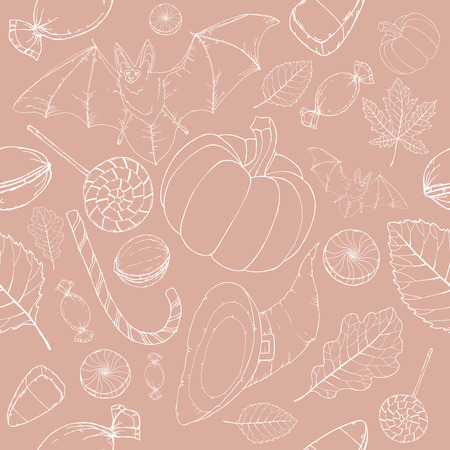 alder: Light Halloween seamless pattern. Great for cards, party invitations, wallpaper, holiday design.