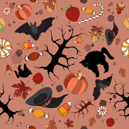 alder: Bright color Halloween seamless pattern. Great for cards, party invitations, wallpaper, holiday design. Illustration
