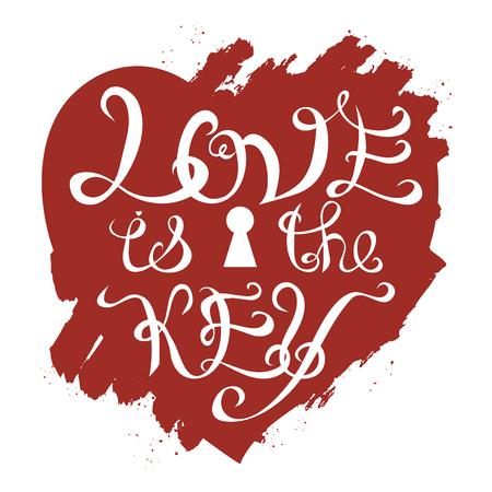 El amor es el dibujado a mano romántica cita clave del vector de la tipografía. Grande como un póster, tarjetas de San Valentín, el diseño de fiesta. Ilustración de vector