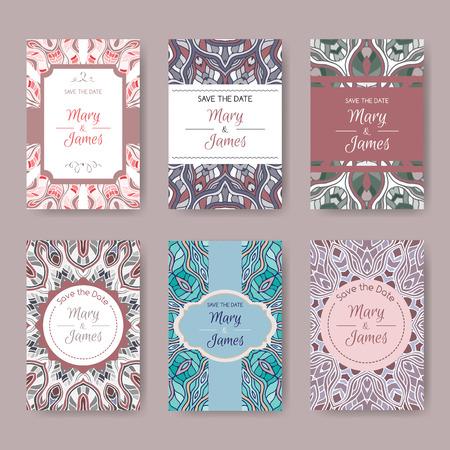 Conjunto de tarjetas de colores pastel con patrones étnicos. Resumen de vectores de fondo, motivos orientales. Rejilla para la reserva la fecha, el día de San Valentín, tarjetas de cumpleaños, invitaciones.