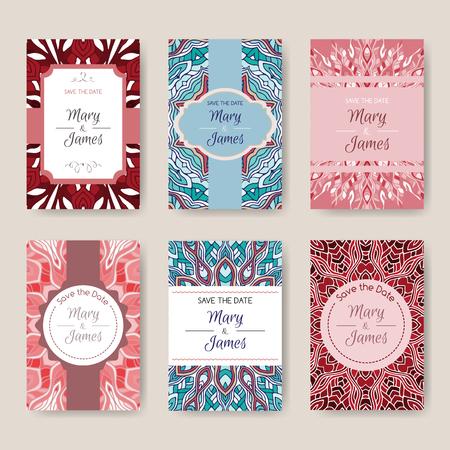 Conjunto de tarjetas de brillantes con patrones étnicos. Resumen de vectores de fondo, motivos orientales. Rejilla para la reserva la fecha, el día de San Valentín, tarjetas de cumpleaños, invitaciones.