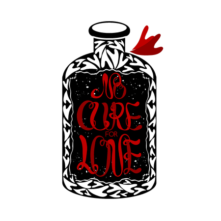 cure: No cure for love label on vintage medicine bottle romantic typography quote. Great as a poster, Saint Valentine card, holiday design.