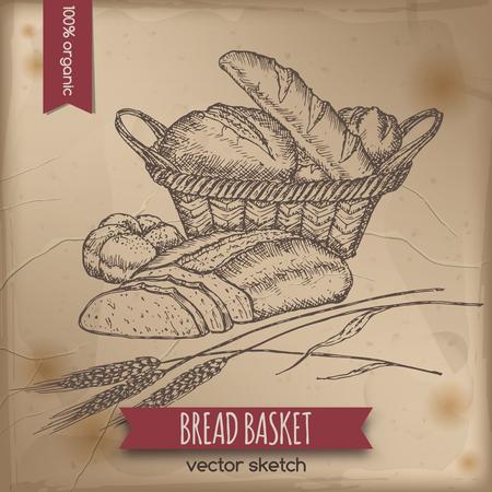 ビンテージのパンのバスケットのテンプレートは、古い用紙の背景に配置されます。ベーカリー、食料品店、オーガニック ショップ、食品ラベル デ
