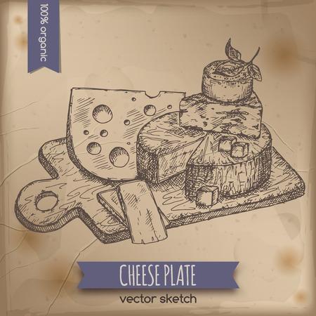 ビンテージ チーズ プレートのテンプレートは、古い紙の背景に配置されます。市場、食料品店、有機店、食品ラベル デザインに最適です。