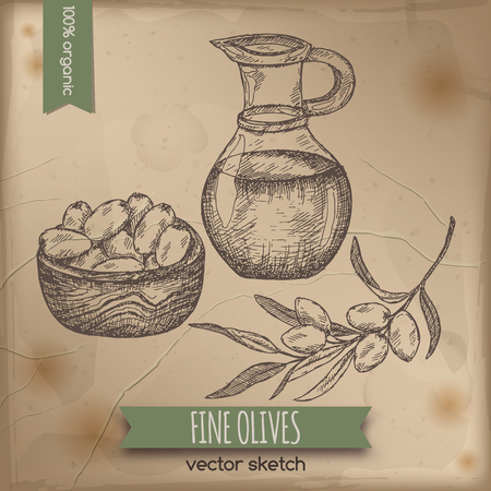 grocery store: Vintage olives and olive oil template placed on old paper background. Great for markets, grocery stores, organic shops, food label design. Illustration