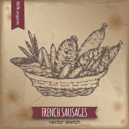 Vintage French sausages template placed on old paper background. Great for meat stalls, grocery stores, organic shops, food label design.