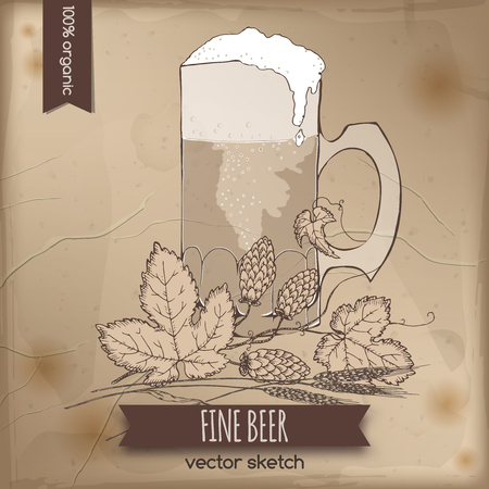 emplate: Vintage template with hand drawn beer mug, wheat and hop branch placed on old paper background. Great for pubs, markets, grocery stores, organic shops, drink label design.