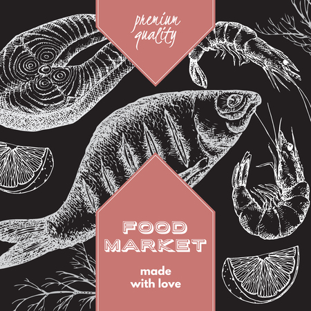 fish steak: Food market label template with hand drawn sketch of grilled fish, fish steak and shrimps. Great for store and packaging design. Illustration