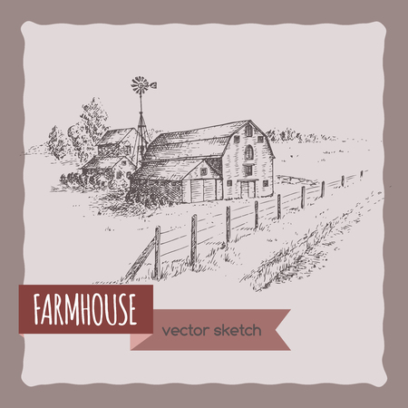 brick house: American farm house, barn and pasture landscape  sketch. Great for farmer product and travel ads, brochures, labels.