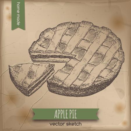 pie: Vintage apple pie placed on old paper background. Great for market, restaurant, cafe, food label design.