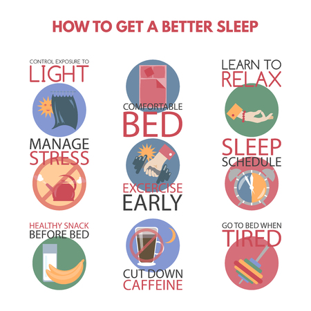 Moderne vlakke stijl infographic op het verkrijgen van een betere slaap. Geweldig voor psychologie publicaties.