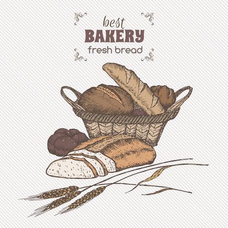 Couleur millésime corbeille à pain modèle. Idéal pour la boulangerie, épiceries, magasins bio, la conception des étiquettes des aliments.