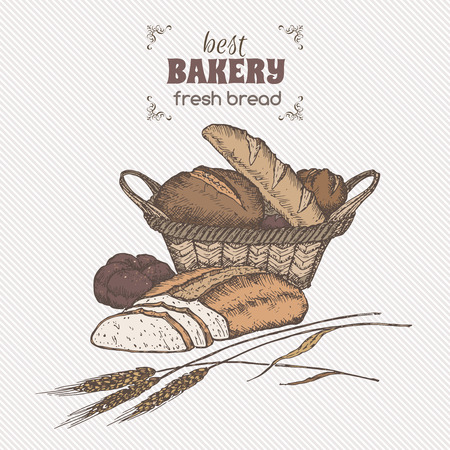 woven label: Color vintage bread basket template. Great for bakery, grocery stores, organic shops, food label design.