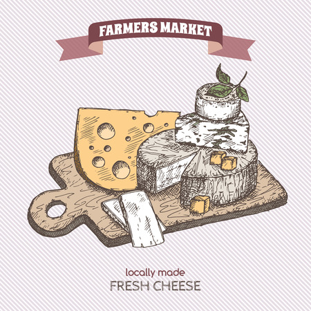 brie: Color farmers market vintage cheese plate template. Great for markets, grocery stores, organic shops, food label design.