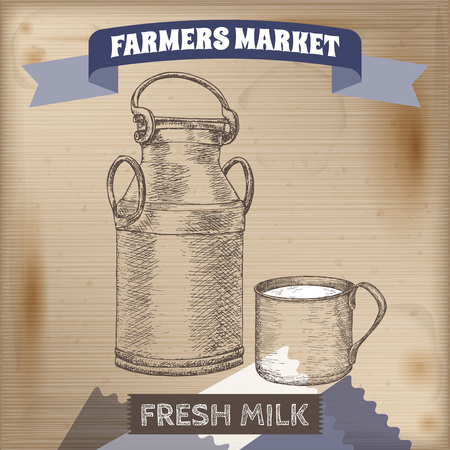 drawn metal: Vintage farmers market label with metal milk jug and cup. Placed on wooden texture. Includes hand drawn elements.