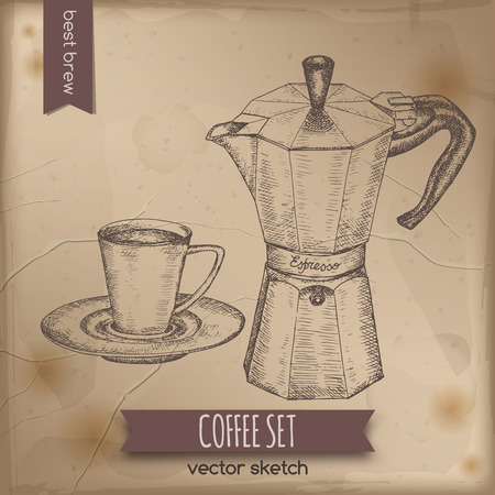 great coffee: Vintage espresso maker and coffee cup. Great for market, restaurant, cafe, food label design. Illustration