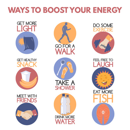 psychology: Modern flat style infographic on boosting your energy. Features healthy food and drink, better lighting, sports, taking shower, social activity. Great for popular psychology publications.