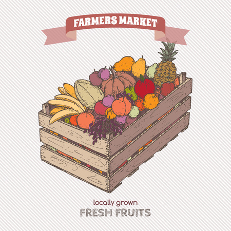 crate: Color farmers market label with fruits in wooden crate. Based on hand drawn sketch.