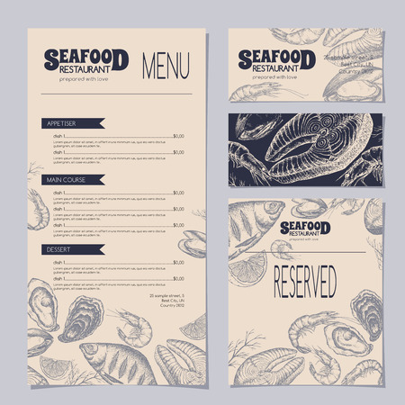 shrimp cocktail: Set of seafood restaurant templates with menu, visit cards and reserved card, includes sketch of perch, fish steak, shrimp, oyster and mytilus. Ready to use artwork.
