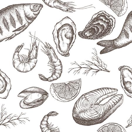 abarrotes: Modelo incons�til de los mariscos con pescado a la parrilla, camarones, ostras y Mytilus, lim�n y eneldo sobre fondo blanco. Grande para los restaurantes, cafeter�as, tiendas de comestibles, cocina, dise�o de la etiqueta de los alimentos.