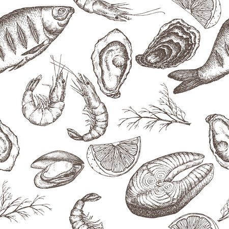 sea food: seafood seamless pattern with grilled fish, shrimps, oyster and mytilus, lemon and dill on white background. Great for restaurants, cafes, grocery stores, kitchen, food label design. Illustration