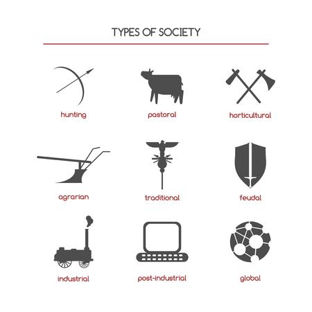 sociology: Conjunto de iconos de sociología que cuenta con tipos de la sociedad. Grandes para los libros sociológicos, proyectos, publicaciones. Vectores
