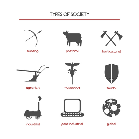 horticultural: Set of sociology icons featuring society types. Great for sociological books, projects, publications.
