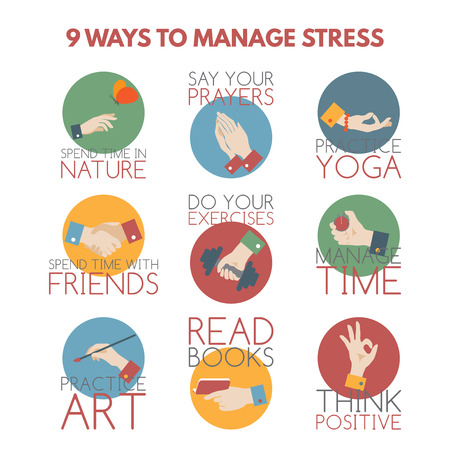mudra: Modern flat style infographic on stress management. Elements designed as hand gestures.