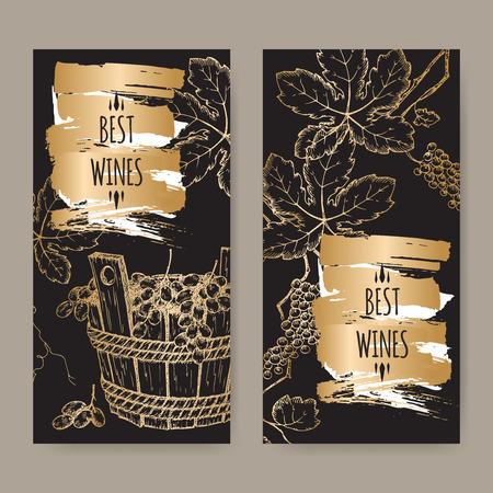 elegante wijn label sjablonen met grapevine en druiven in houten emmer op een zwarte achtergrond. Geweldig voor wijnhuizen, supermarkten, wijn label design. Stock Illustratie