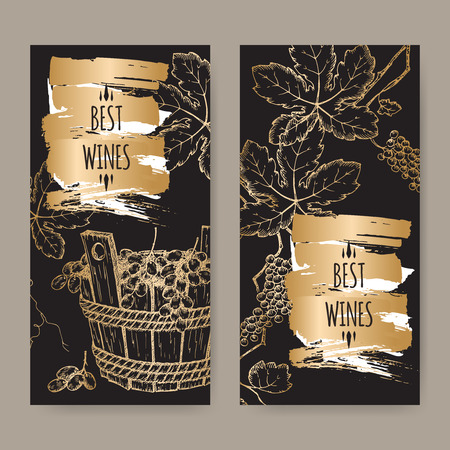 elegant wine label templates with grapevine and grapes in wooden bucket on black background. Great for wineries, grocery stores, wine label design. Vectores