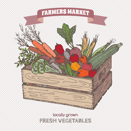 Color farmers market label with vegetables in wooden crate.