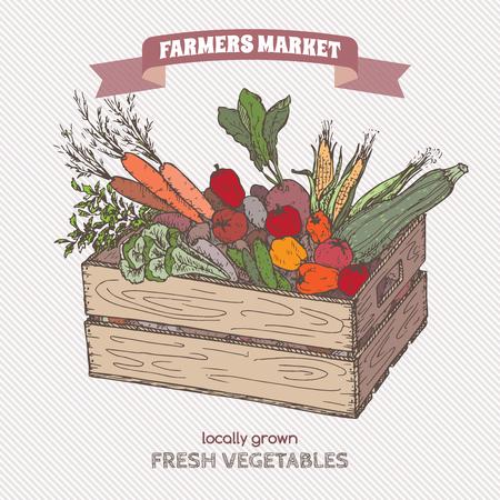 Farbe Bauernmarkt Etikett mit Gemüse in Holzkiste. Vektorgrafik