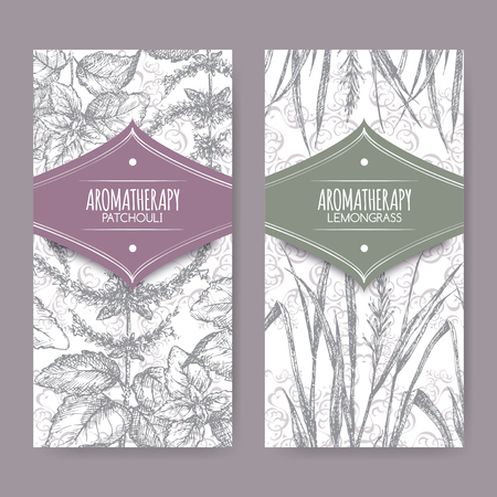 labels with lemongrass and patchouli on elegant lace background. Aromatherapy series. Great for traditional medicine, perfume design, cooking or gardening labels.