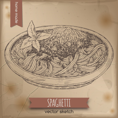 Vintage spaghetti Bolognese template placed on old paper background. Great for market, restaurant, cafe, food label design.