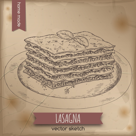 lasagna: Vintage lasagna template placed on old paper background. Great for market, restaurant, cafe, food label design. Illustration